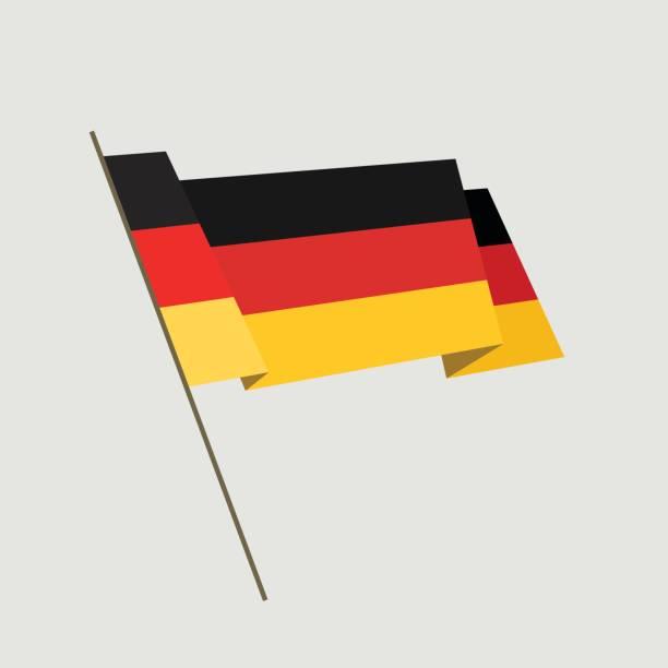 Vector flat style waving Germany flag vector art illustration