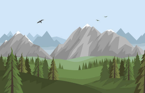 Vector flat summer landscape with beautiful mountains and forest vector art illustration