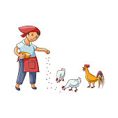 vector flat cartoon young teen girl feeding domestic birds - chickens and rooster. Children at farm concept. Isolated illustration on a white background.