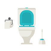 Vector flat toilet, toilet paper, toilet brush, set on white background