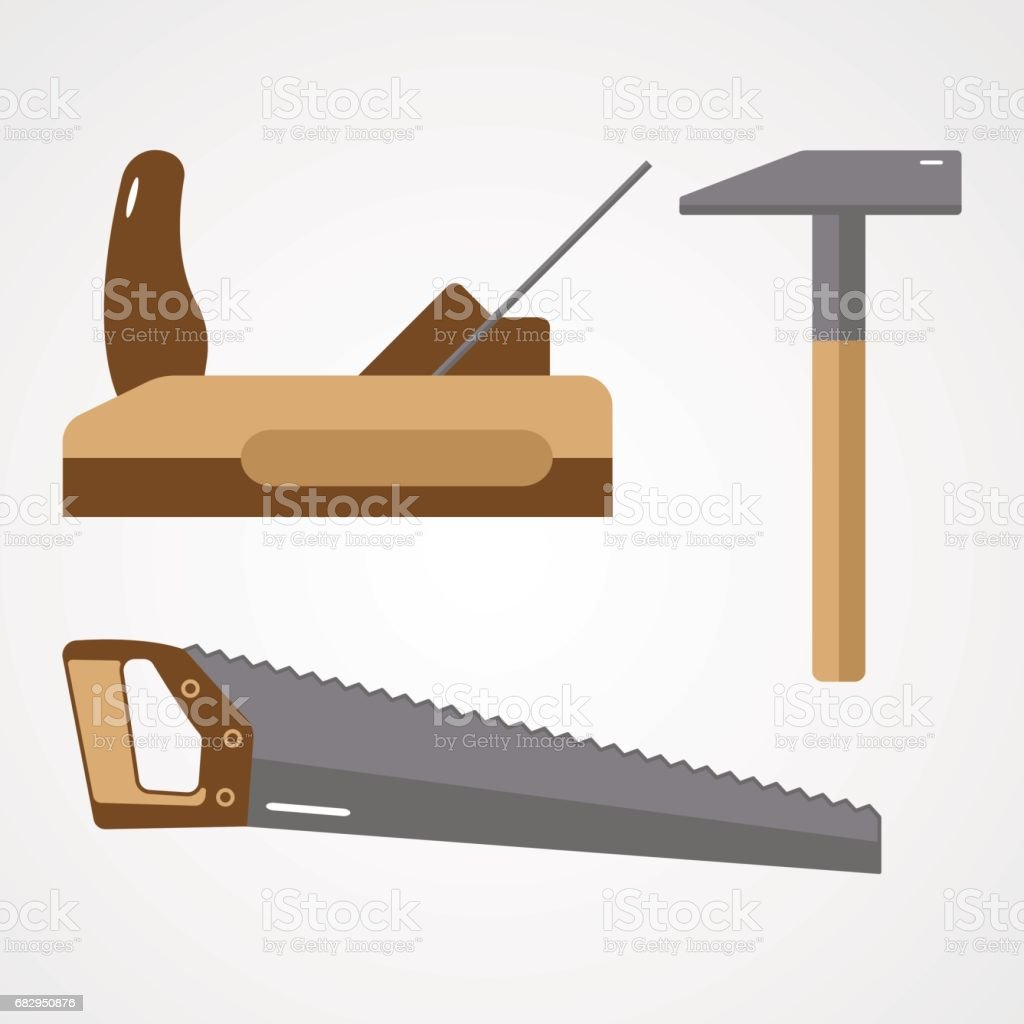 vector flat tools, saw, plane, hammer royalty-free vector flat tools saw plane hammer stock vector art & more images of carpentry