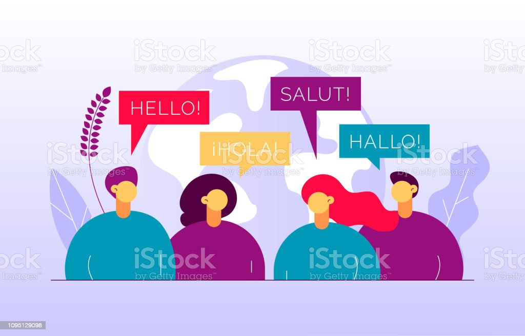 Vector flat translation concept of  big modern people,speaking different languages.Trendy language courses, translation agency illustration with earth globe, word hello in Spanish,French,German. vector art illustration
