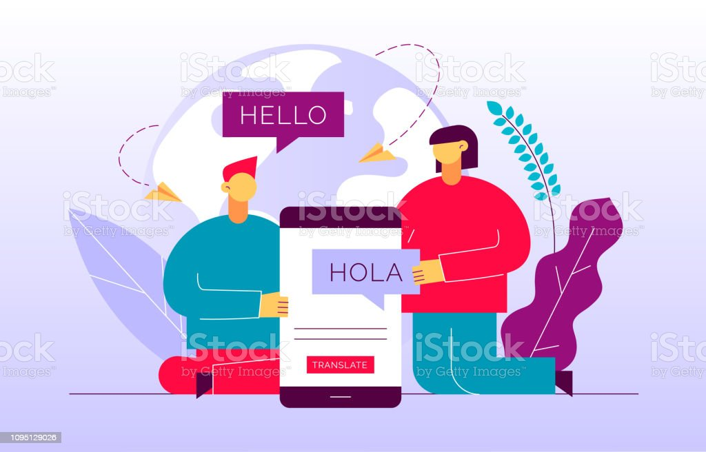 Vector flat translation design concept of  big modern people, holding smartphone with word Hello in spanish. Trendy language courses, translation agency illustration with earth globe and leaves. vector art illustration