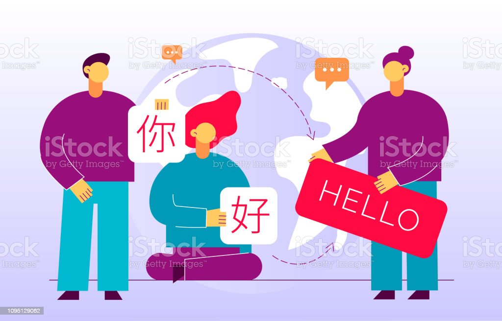 Vector flat translation design concept of  big modern people, holding cards with word Hello in chinese and english. Trendy language courses, translation agency illustration with earth globe. vector art illustration