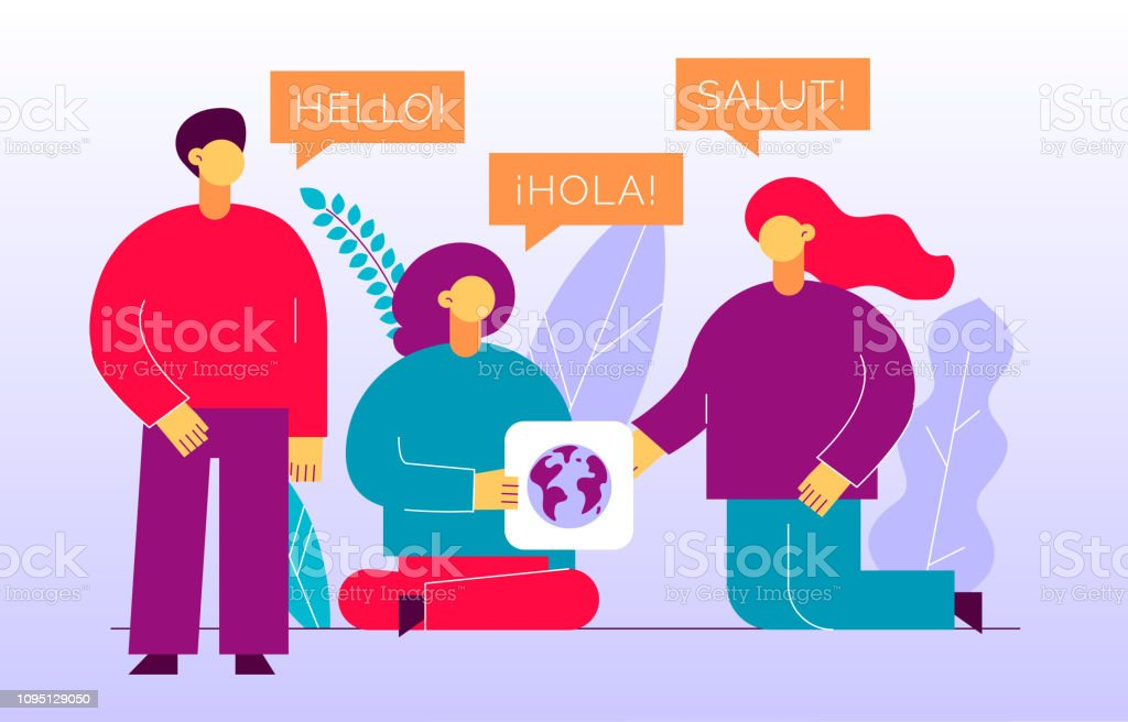 Vector flat translation design concept of  big modern people with word Hello in English, Spanish and French. Trendy language courses, translation agency illustration with earth globe and leaves. vector art illustration