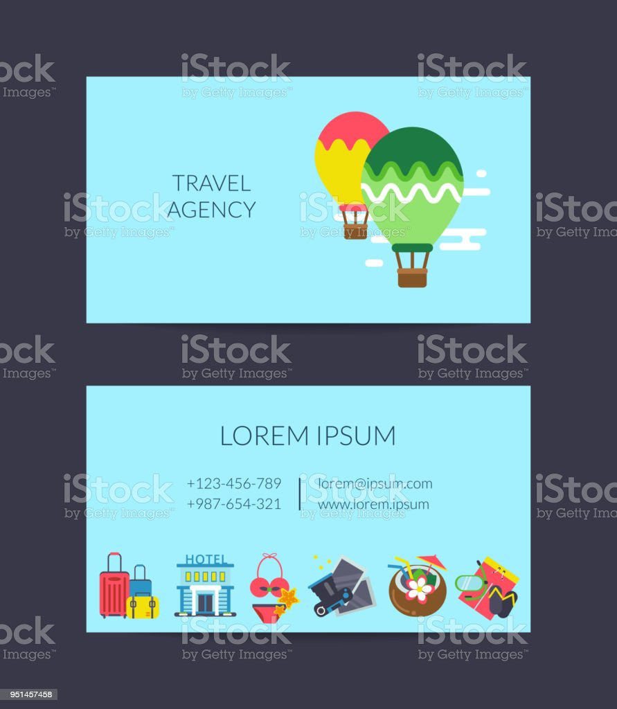 Vector Flat Travel Elements Business Card Template For Travel Agency ...