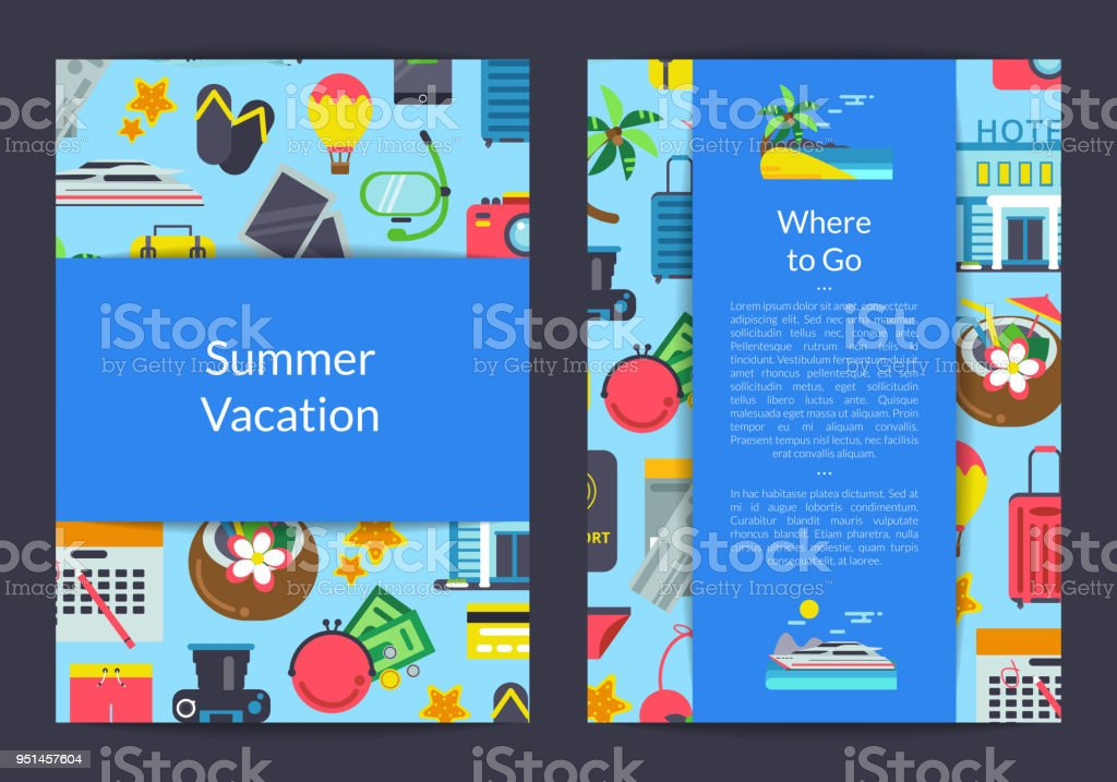 Vector Flat Travel Elements Card Flyer Or Brochure Template For