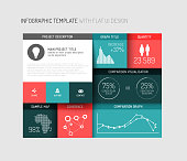 Vector flat user interface (UI) infographic template / design - version with shadows