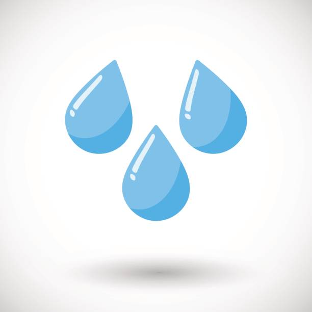 Vector flat water drops icon Water drops icon, Flat design with round shadow, vector illustration teardrop stock illustrations