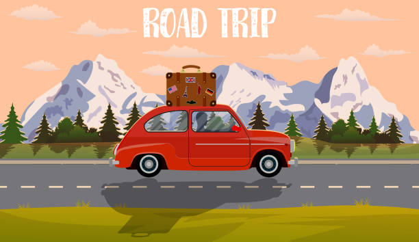 vector flat web banner on the theme of road trip, - road trip stock illustrations
