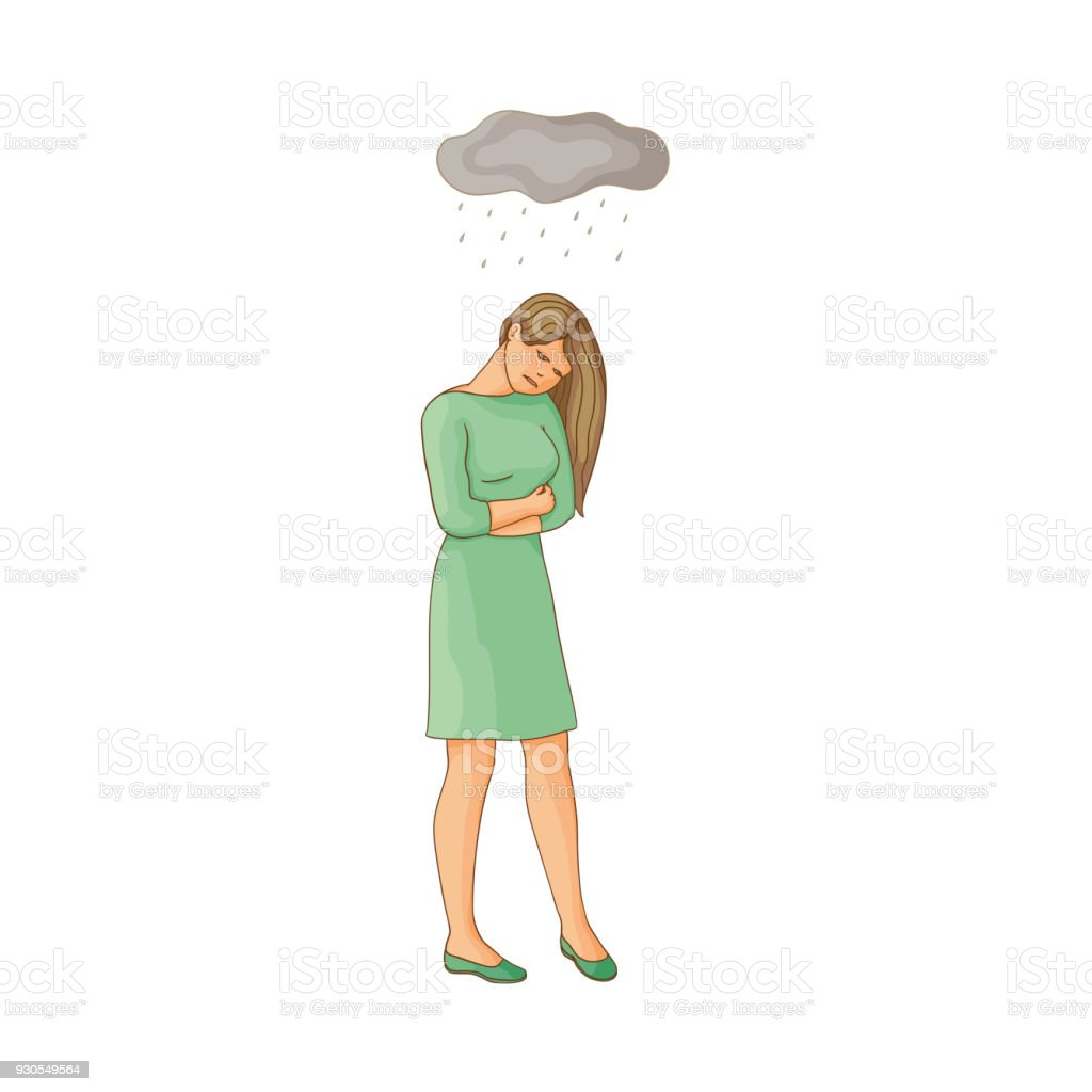 vector flat young woman suffering from depression vector art illustration