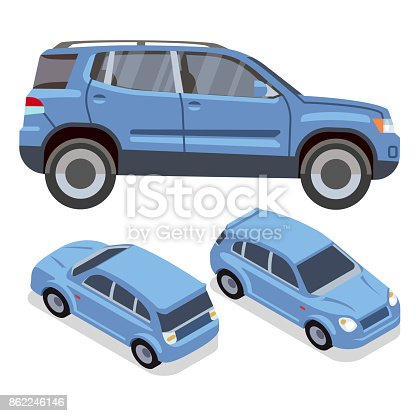 istock Vector flat-style cars in different views. Blue suv 862246146