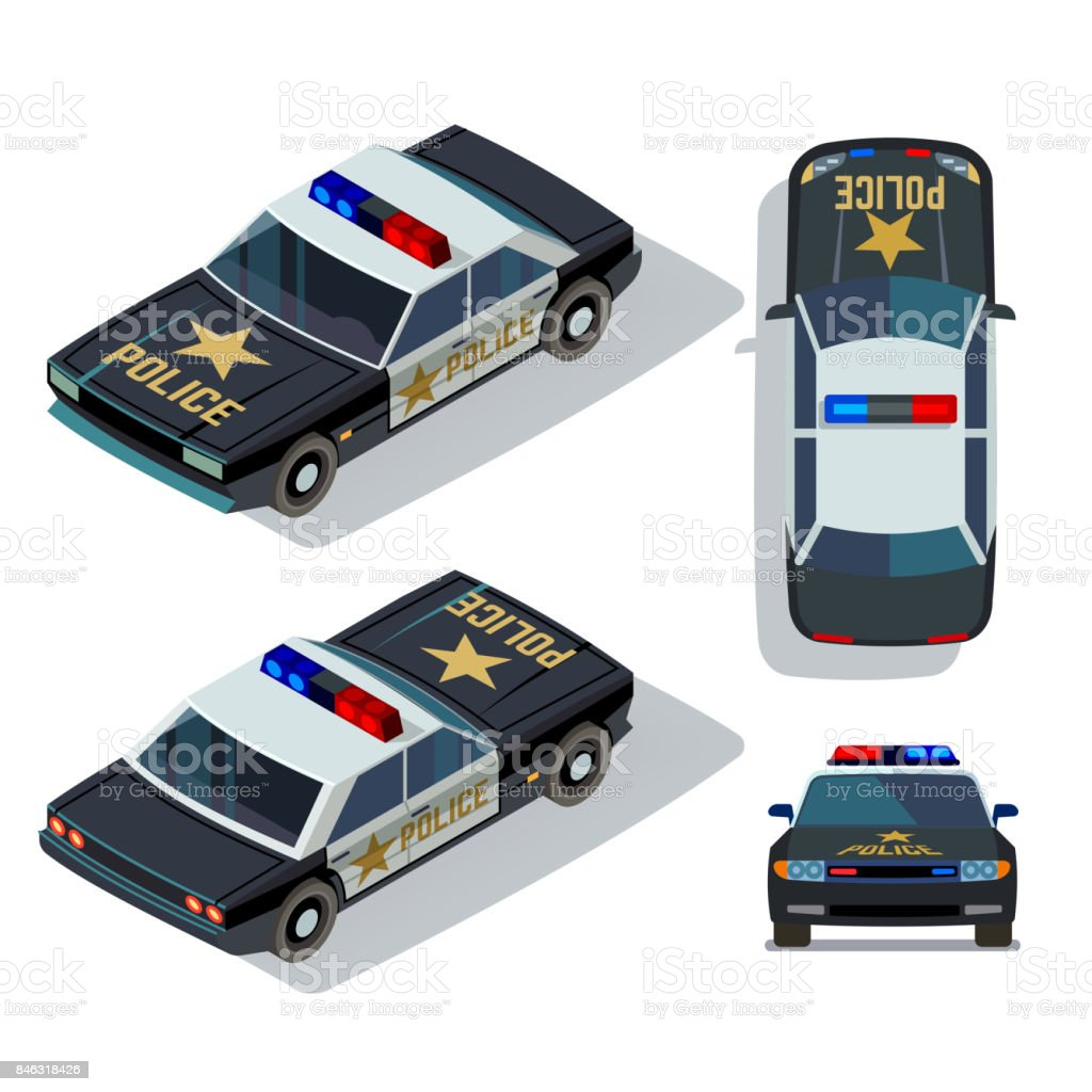 Vector flat-style cars in different views. Isometric police car vector art illustration