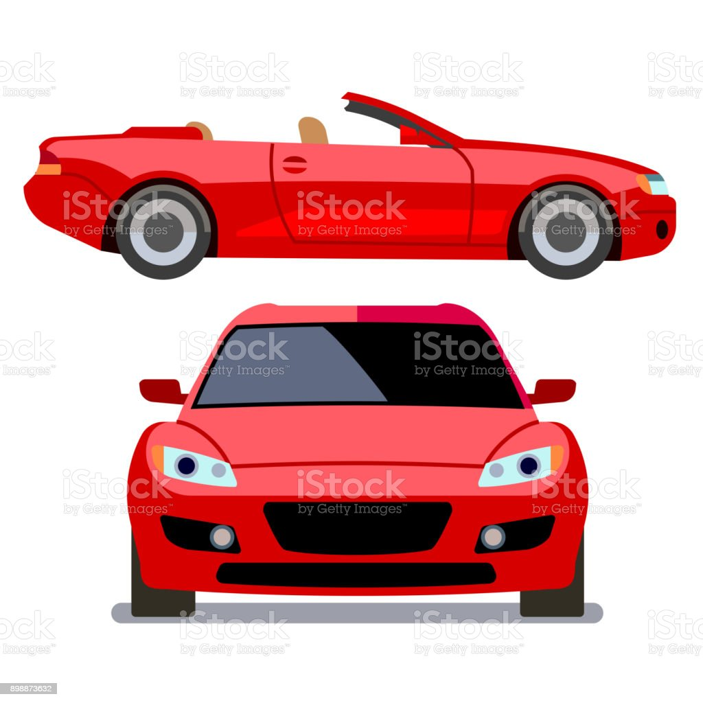 Vector flat-style cars in different views. Red cabriolet vector art illustration