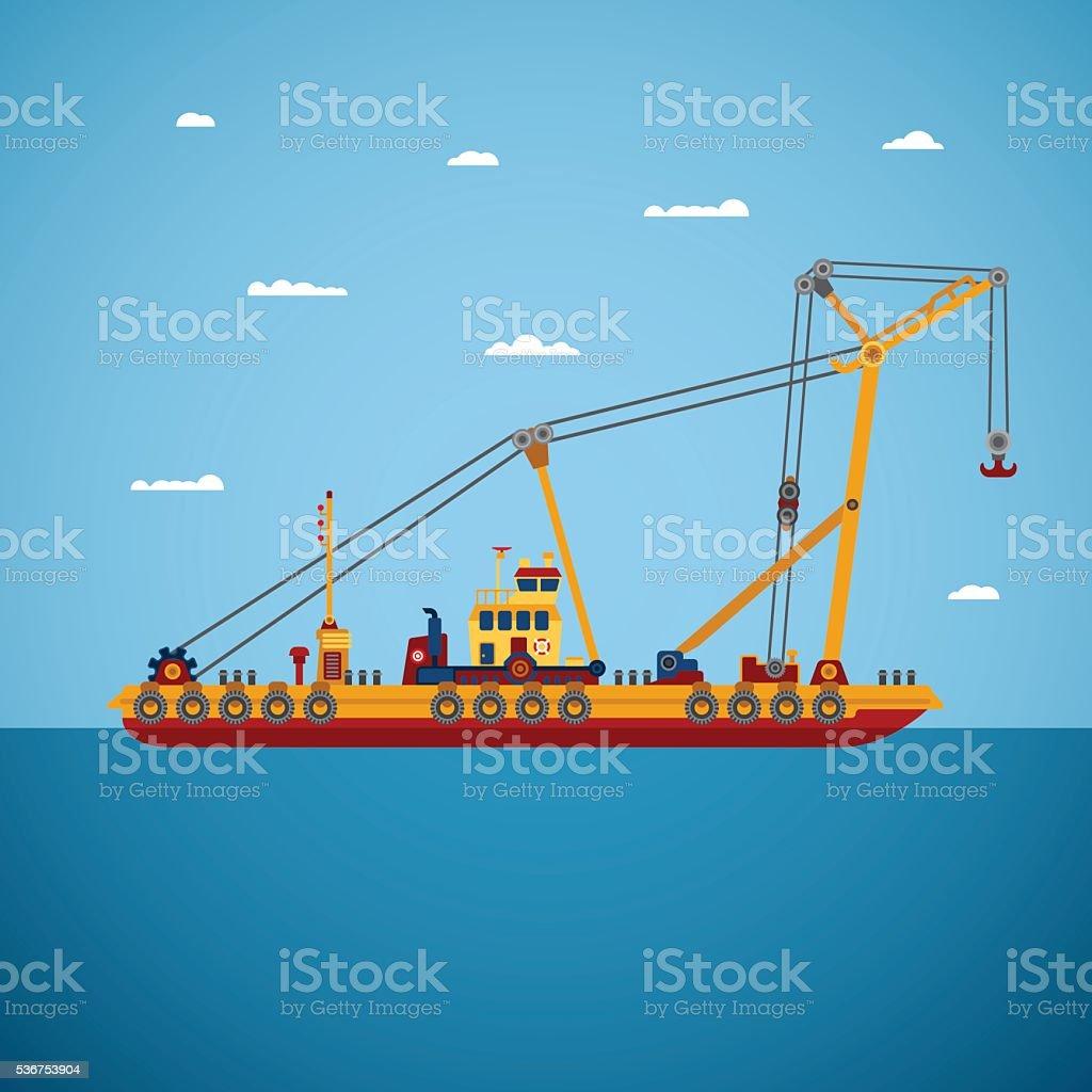 Vector floating marine crane in flat style vector art illustration