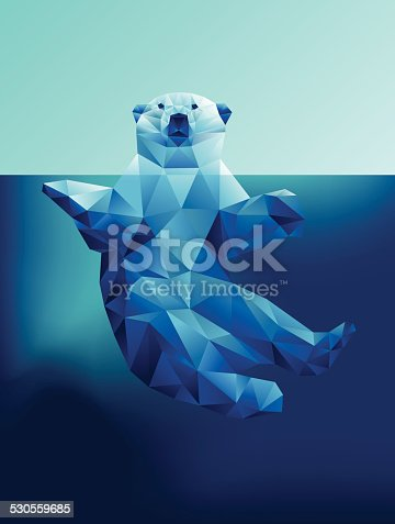 istock Vector floating polar bear in blue waters polygon geometric 530559685