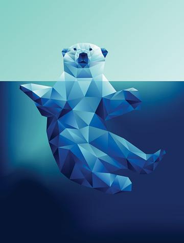 Vector floating polar bear in blue waters polygon geometric