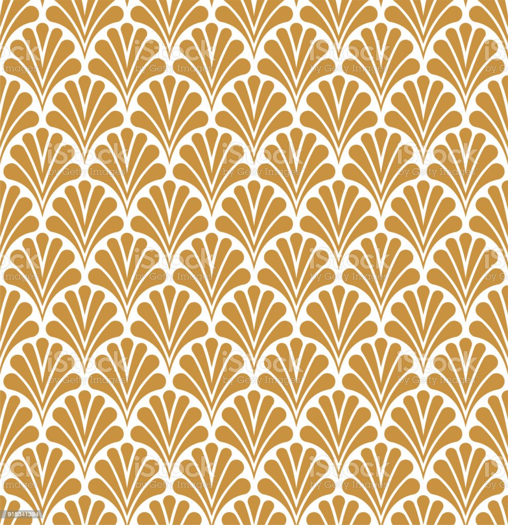 Vetor Floral Art Nouveau padrão sem emenda. Textura de folhas decorativas geométrico. - ilustração de arte em vetor