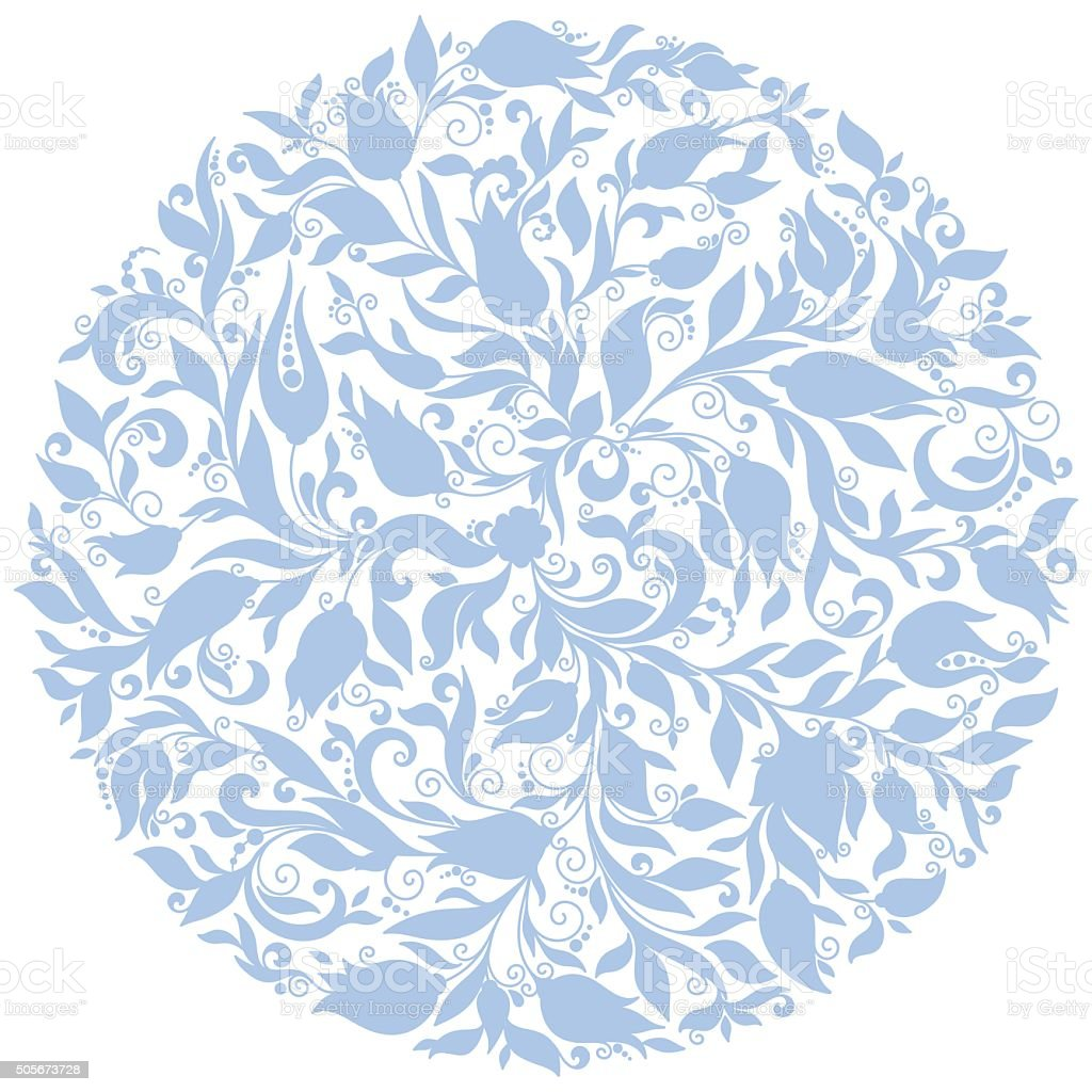 Vector Floral Background. Hand Drawn Ornament with Floral Wreath....
