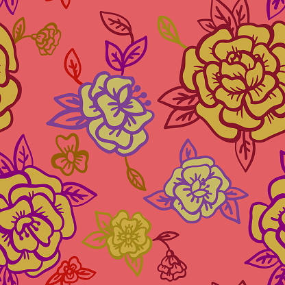 Vector floral background made of large roses heads
