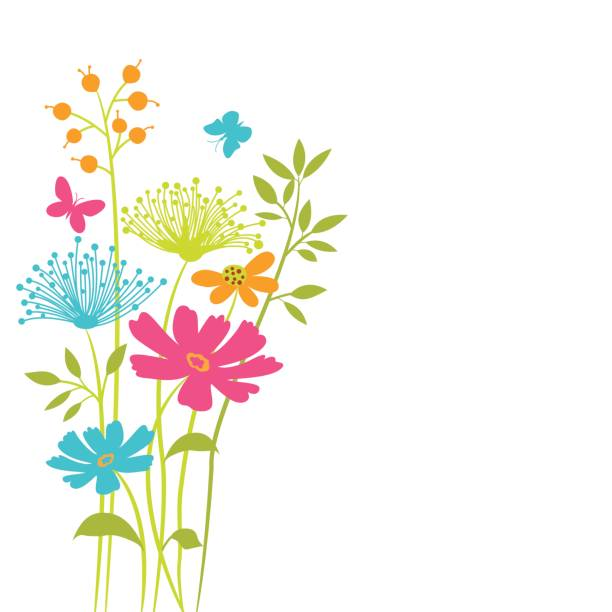 vector floral background . - jeden kwiat stock illustrations