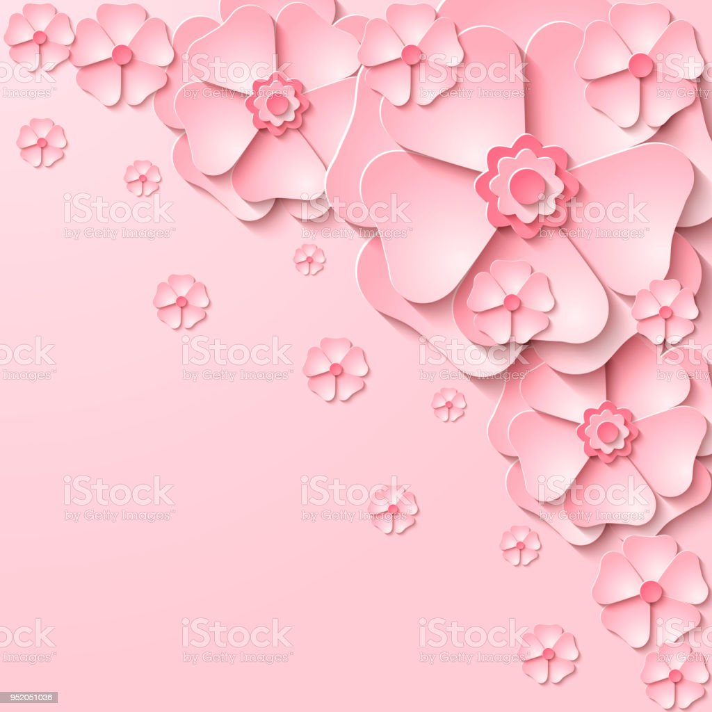 Vector Floral Background With 3d Cut Out Paper Pink Flowers Stock