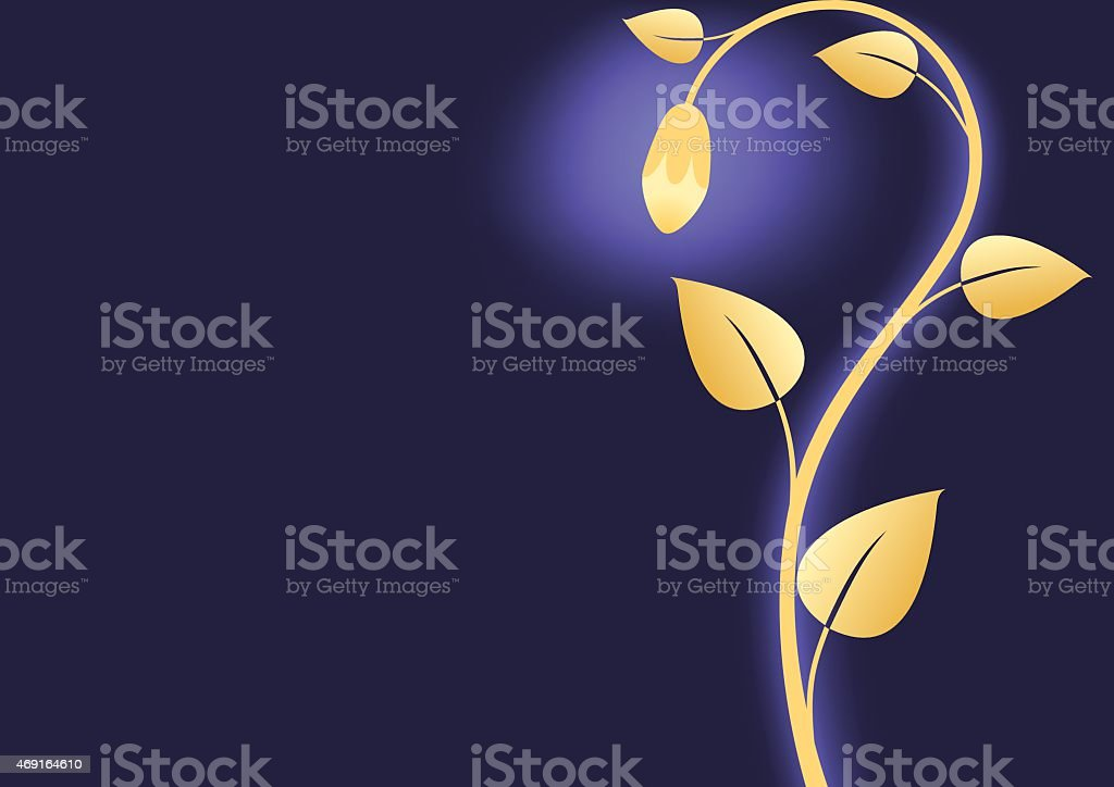 Vector Floral Background With Gold Flower Royalty Free Stock
