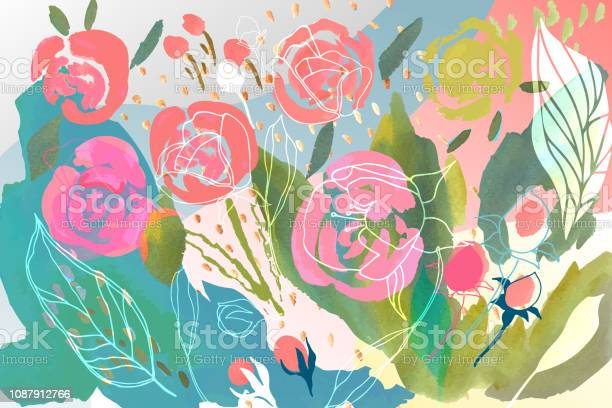 Vector floral background with hand drawn pastel colored flowers and vector id1087912766?b=1&k=6&m=1087912766&s=612x612&h=ohlgbgzqoly bpitujjdhlgzgkavj dqmna57uery i=