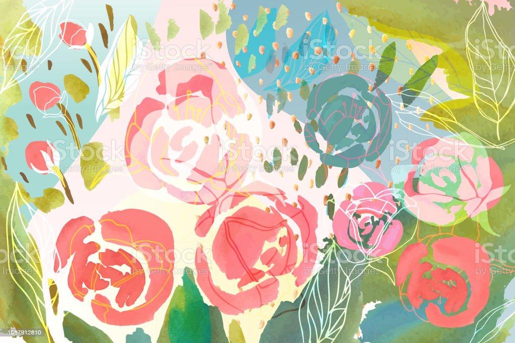 Vetor floral de fundo com cor pastel desenhado de mão flores, folhas e galhos. Exuberante folhagem e flor de ilustração. Primavera ou verão romântico desenha o plano de fundo. vetores de vetor floral de fundo com cor pastel desenhado de mão flores folhas e galhos exuberante folhagem e flor de ilustração primavera ou verão romântico desenha o plano de fundo e mais imagens de azul royalty-free