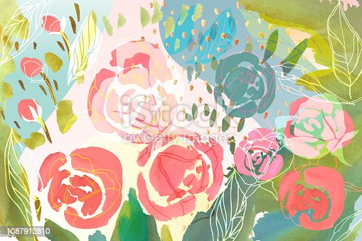 Vector floral background with hand drawn pastel colored flowers, leaves and branches . Lush foliage and blossom illustration. Spring or summer romantic design background.