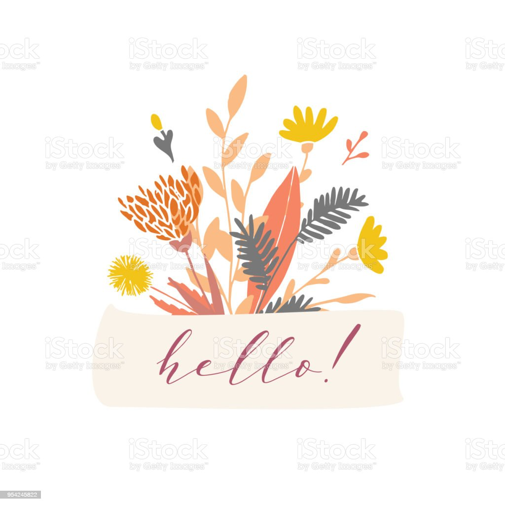 Vector floral badge. vector art illustration