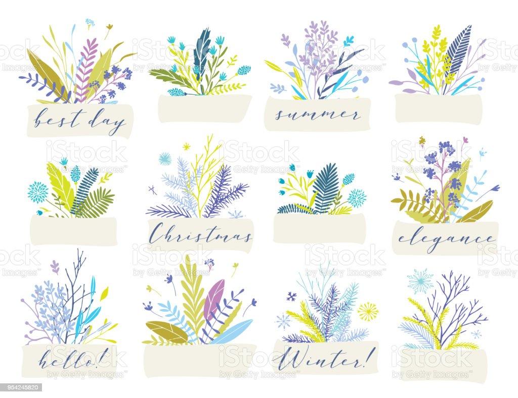 Vector floral badges. vector art illustration