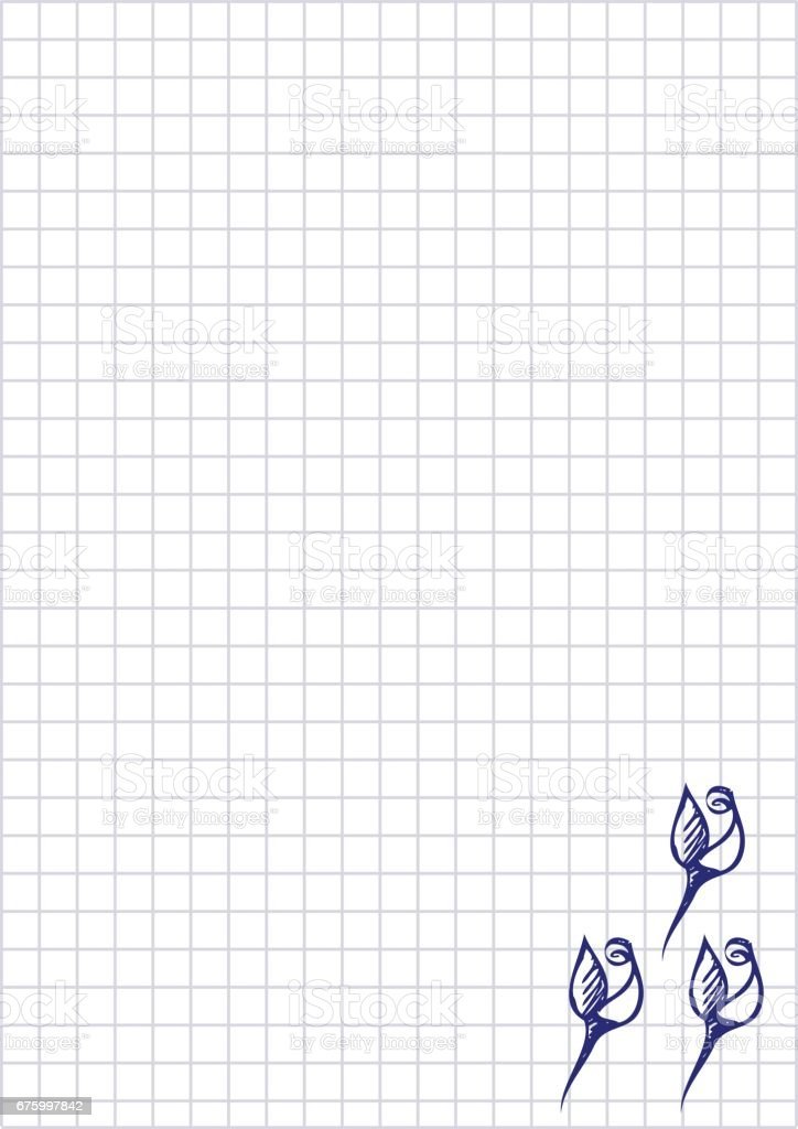 Vector floral blank for letter or greeting card. Checkered paper, white squared form with hand drawn roses. Imitation of inc drawing.A4 format size. Series of Cards, Blanks and Forms.
