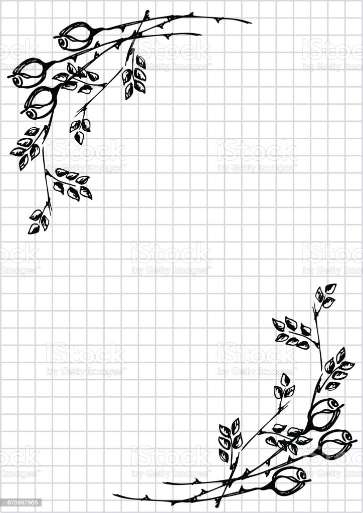 Vector floral blank for letter or greeting card. Checkered paper, white squared form with black hand drawn roses and leaves. Imitation of inc drawing.A4 format size. Series of Cards, Blanks and Forms.