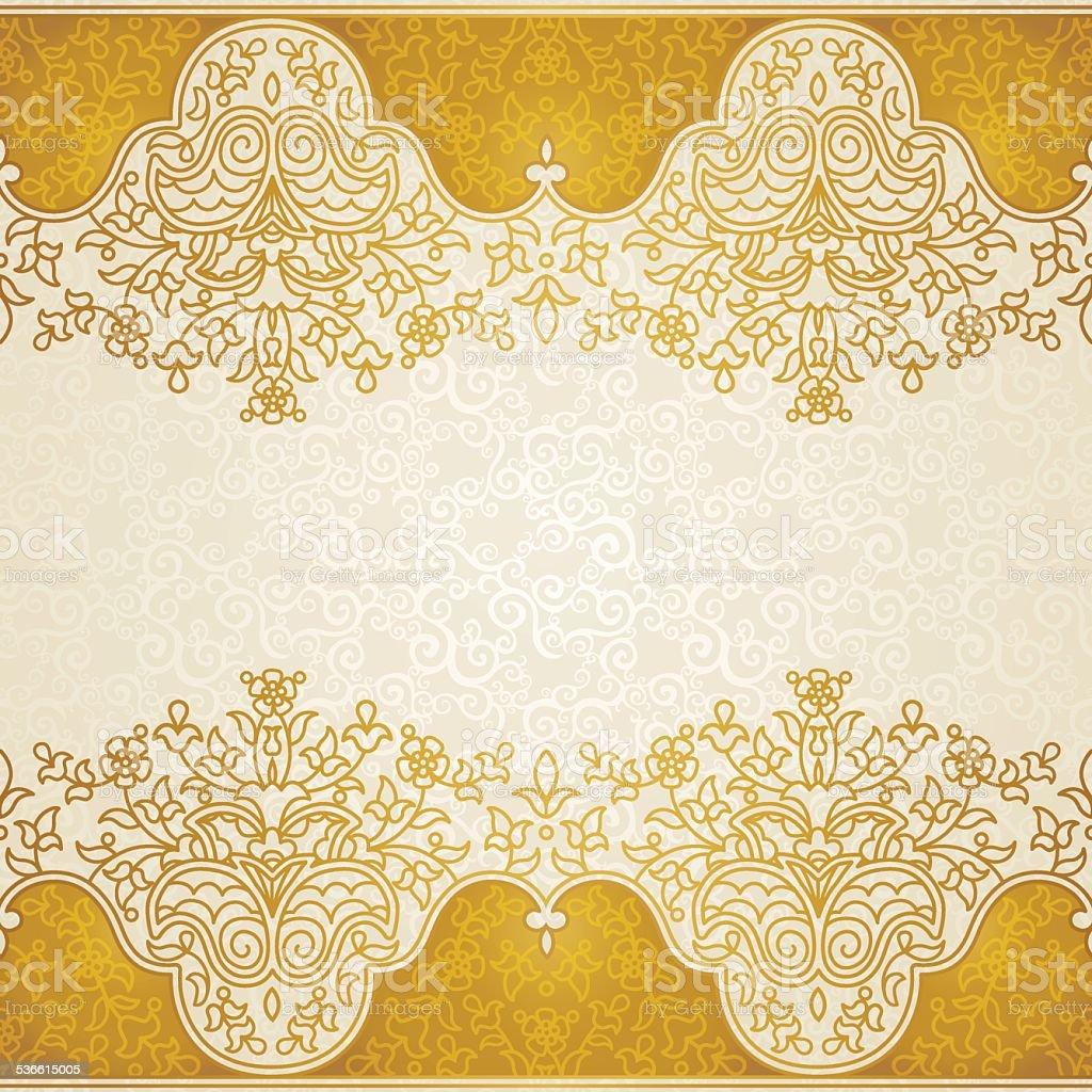 Vector floral border in Eastern style. vector art illustration