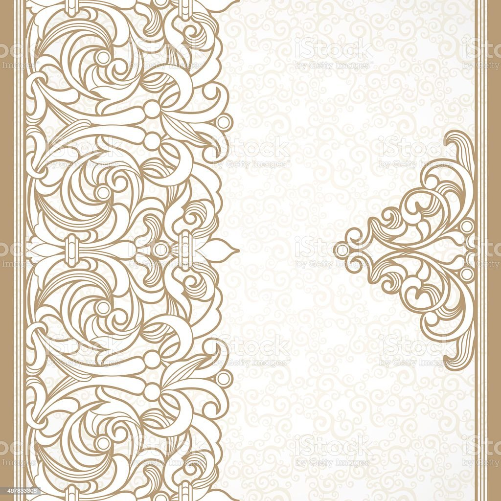 Vector Floral Border In Victorian Style Stock Illustration