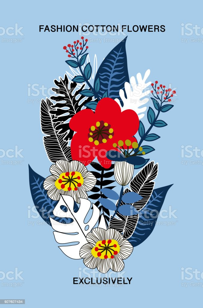 Vector floral bouquet for textile design. Big flowers for print on cotton fabric. vector art illustration