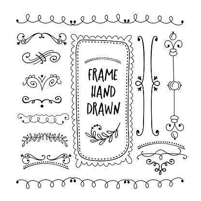 Vector floral decor set of hand drawn Doodle frames, dividers, borders, elements. Isolated on a white background.