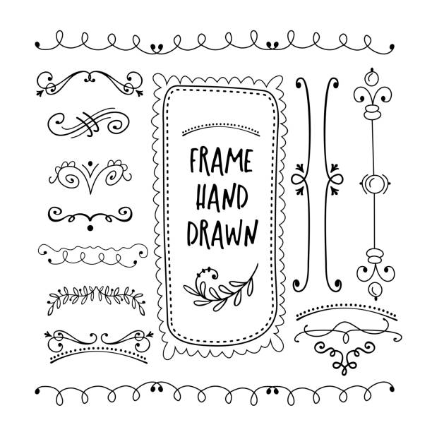 vector floral decor set of hand drawn doodle frames, dividers, borders, elements. isolated on a white background. - виньетка stock illustrations