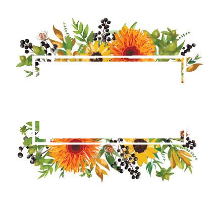 Vector floral design horizontal card design. Gerbera orange daisy flower garden sunflower green fern seasonal berry branches leaves mix Greeting invitation wedding. Autumn Frame border with copy space