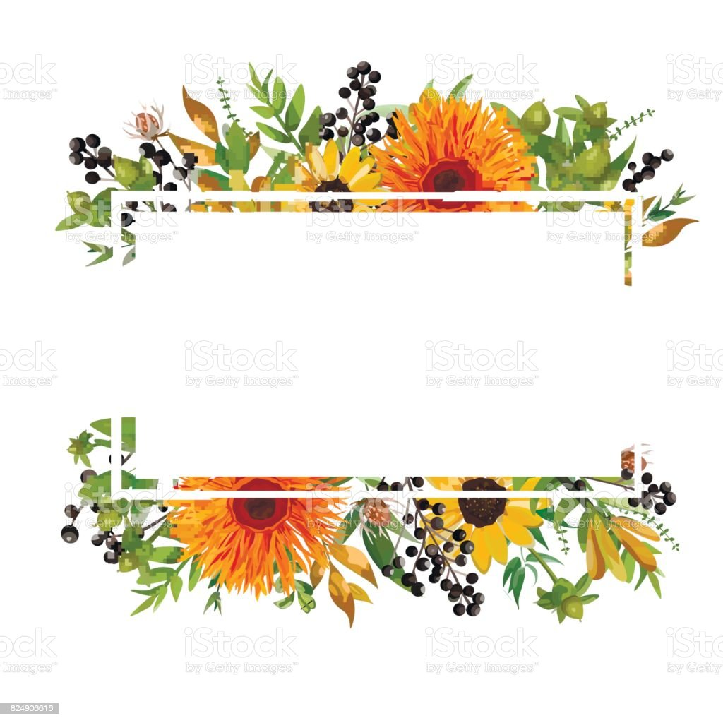 Vector floral design horizontal card design. Gerbera orange daisy flower garden sunflower green fern seasonal berry branches leaves mix Greeting invitation wedding. Autumn Frame border with copy space vector art illustration