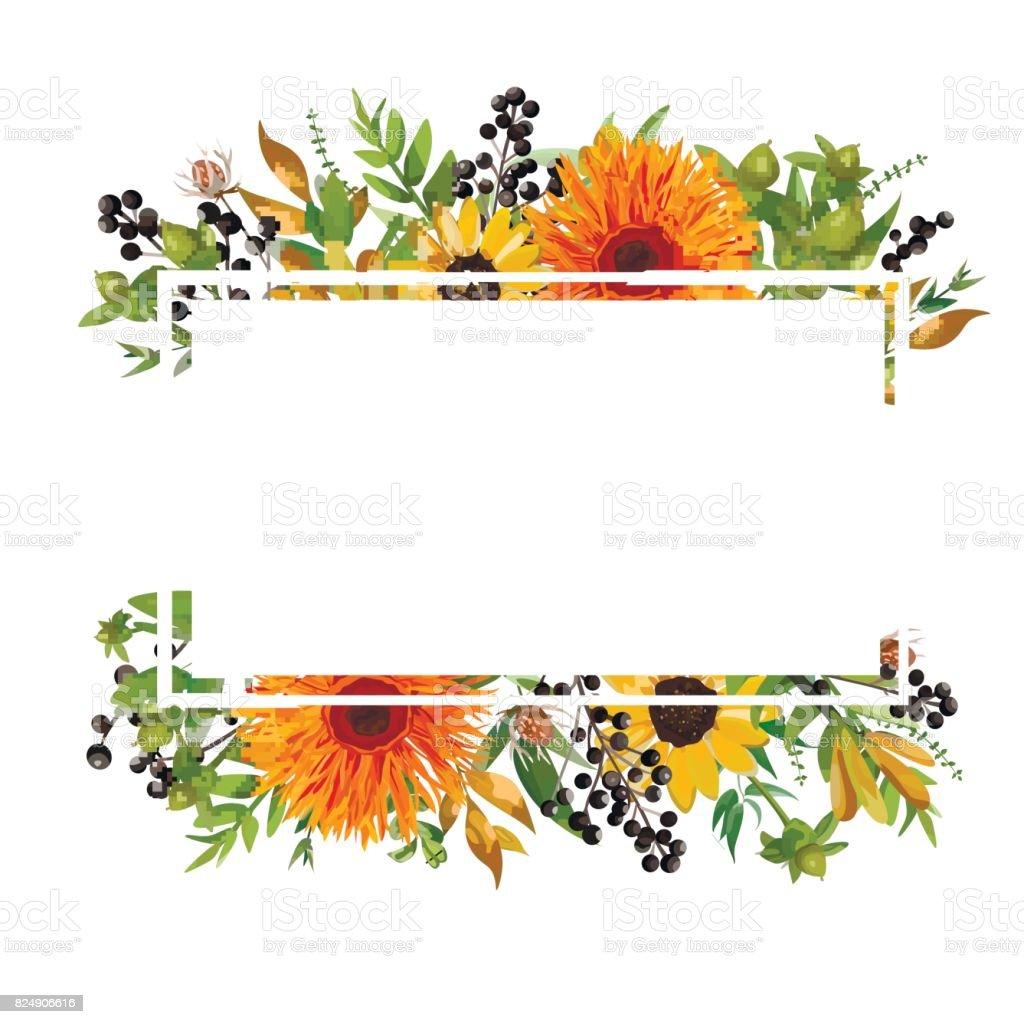 Conception de cartes horizontales de design floral de vecteur. Gerbera daisy orange fleuri tournesol vert fougère berry saisonnière branches feuilles mélangent voeux invitation mariage. Bordure de cadre de l'automne avec l'espace de copie - Illustration vectorielle
