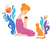 Vector hygge illustration with a woman drink coffee with her cat. Have a rest illustration with flower decoration.