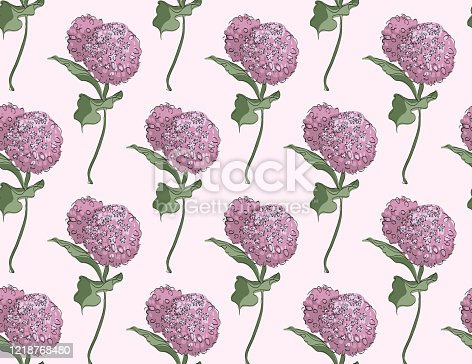 Seamless pattern Vector floral design with blossom asclepias syriaca on pale pink background
