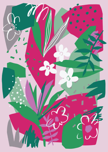 Vector floral drawing on canvas cut out design Vector floral artwork. Plain flowers, petals, leaves with geometrical shape and abstract doodle elements such as dots, scribbles and stripes. Colorful botanical background for card, banner and poster. art and craft stock illustrations