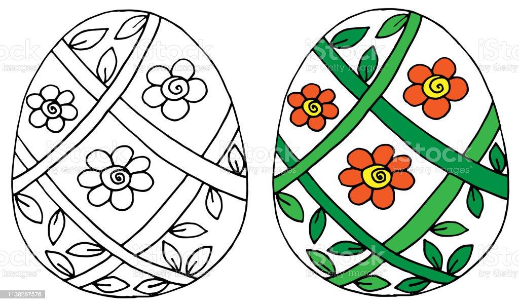Beyaz Arka Planda Serit Yay Ile Vektor Cicek Paskalya Yumurtasi