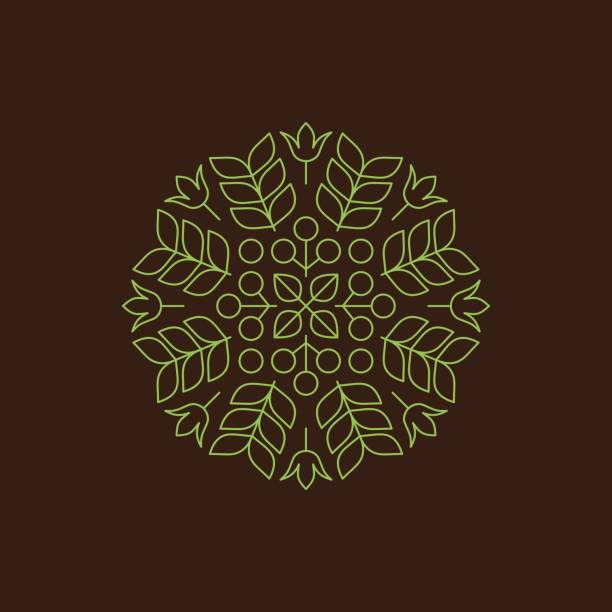 向量花卉元素。天然產品印刷的向量。線性的風格。抽象的向量圖。 - 葉狀花紋 幅插畫檔、美工圖案、卡通及圖標