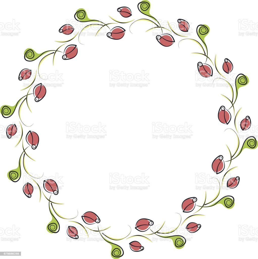 Vector Floral Frame Cute Border In The Shape Of Circle With