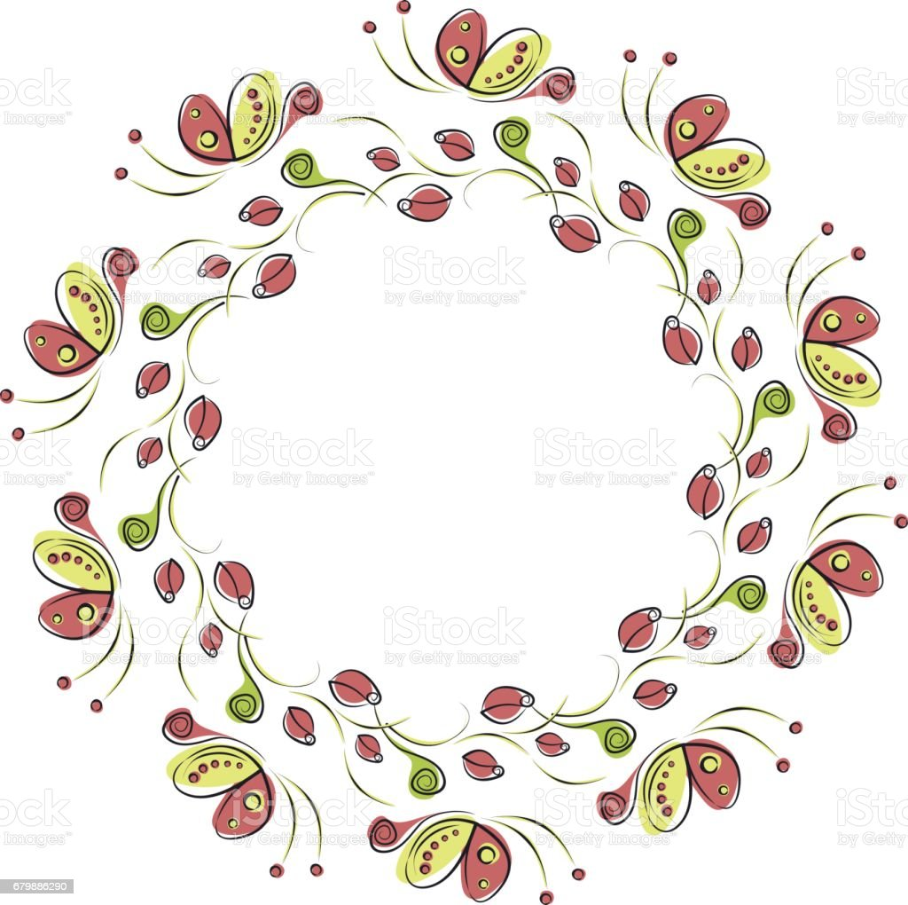 Vector Floral Frame With Insects Cute Drawn Border In The Shape Of