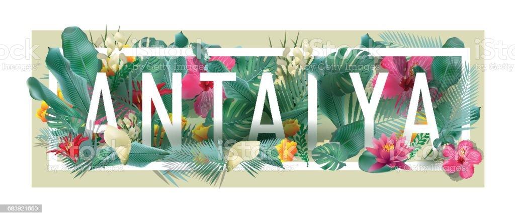 tipografik ANTALYA şehir sanat vektör çiçek çerçeveli vektör sanat illüstrasyonu